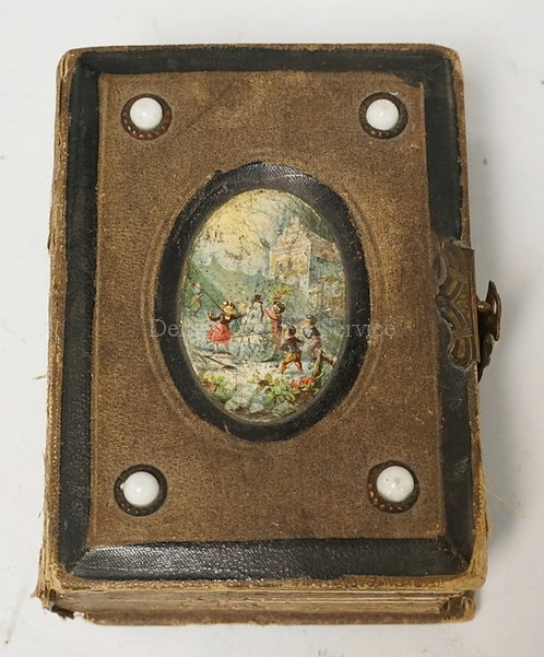 ANTIQUE PHOTO ALBUM WITH 13 PHOTOGRAPHS INCLUDING TIN TYPES. 5 1/2 X 4 INCHES. A