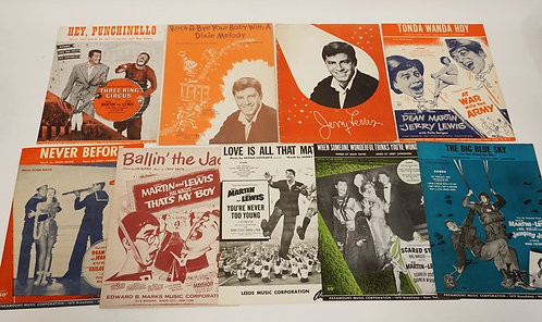 9 PIECES OF JERRY LEWIS/DEAN MARTIN MEMORABILIA. 8 SCORES, AND A JERRY LEWIS PRO