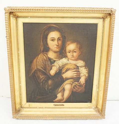 ANTIQUE OIL PAINTING ON CANVAS OF A MOTHER AND CHILD. PLAQUE ON FRAME READING *1