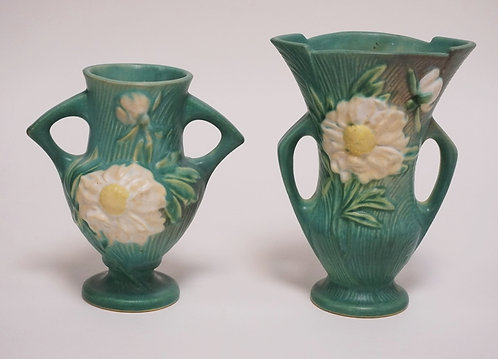 2 PIECES OF ROSEVILLE POTTERY PEONY PATTERN VASES. TALLEST IS 7 3/8 INCHES HIGH.