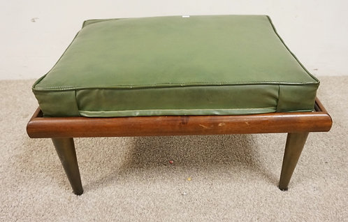 MID CENTURY MODERN FOOTSTOOL WITH GREEN LEATHER.
