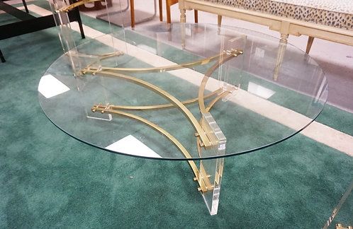 CHARLES HOLLIS JONES MODERN COFFEE TABLE WITH BRASS AND LUCITE BASE AND ROUND GL