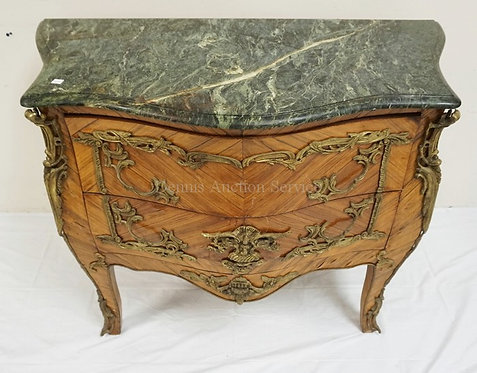 MARBLE TOP COMMODE WITH 2 DRAWERS, BOOK MATCHED VENEER, AND BRONZE MOUNTS. 40 1/