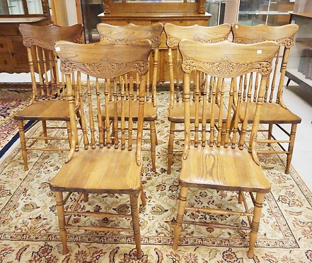 SET OF 6 OAK PRESSBACK CHAIRS.
