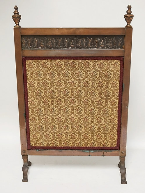 COPPER SCREEN WITH A TAPESTRY PANEL. URN FINIALS. RELIEF DECORATED PANEL. 28 3/4