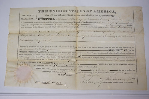 1850 LAND GRANT FOR SAMUEL P. ANTHONY IN DELAWARE COUNTY INDIANA. SIGNED BY PRES