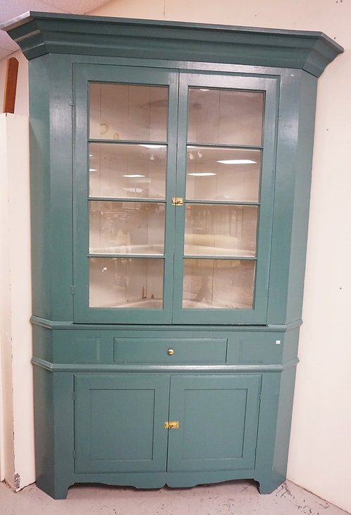 2 PC CORNER CUPBOARD WITH DRAWER, PAINTED BLUE. APP 56 IN WIDE, 90 IN H