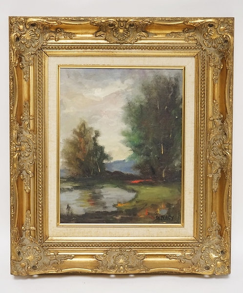 D. MACY OIL PAINTING ON CANVAS OF A LANDSCAPE WITH TREES BY WATER. SIGNED LOWER