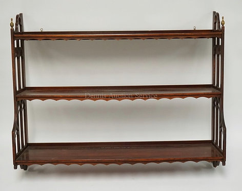 MAHOGANY 3 TIER HANGING SHELF WITH CUTWORK SIDES, BRASS FINIALS, AND SCALLOPED S