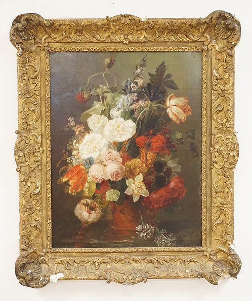 ANTIQUE STILL LIFE OIL PAINTING ON CANVAS OF FLOWERS IN A VASE. 20 X 26 INH SIGH