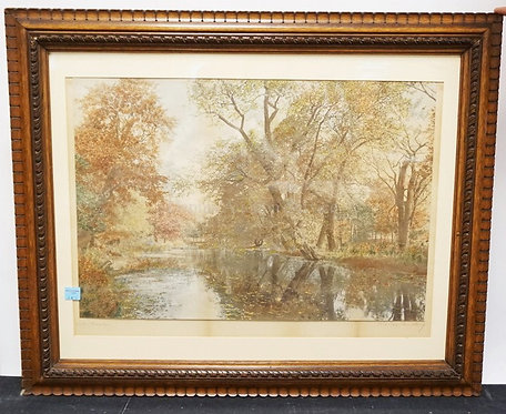 LARGE WALLACE NUTTING *WATER MAPLES* HAND COLORED PRINT. SIGNED AND TITLED BELOW