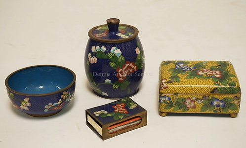 4 PIECES OF CLOISONNE. A COVERED JAR, BOX WITH A HINGED LID, A SMALL BOWL, AND A