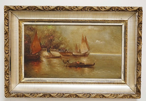 1007_OIL PAINTING ON CANVAS OF SAILBOATS AND A GONDOLA BY A BY A SHORE WITH STEP