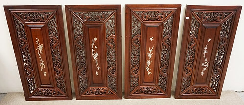 SET OF 4 CARVED ASIAN HARDWOOD PANELS WITH MOTHER OF PEARL INLDAY. 18 X 36 INCHE