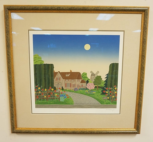 PENCIL SIGNED LIN ED PRINT OF A COTTAGE AND GARDEN. #46 OF 150