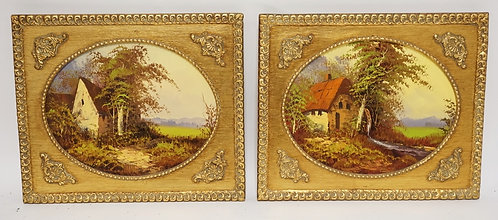 PAIR OF FRAMED PAINTINGS ON CANVAS OF COTTAGES. 12 3/4 X 10 3/4 INCH FRAMES.