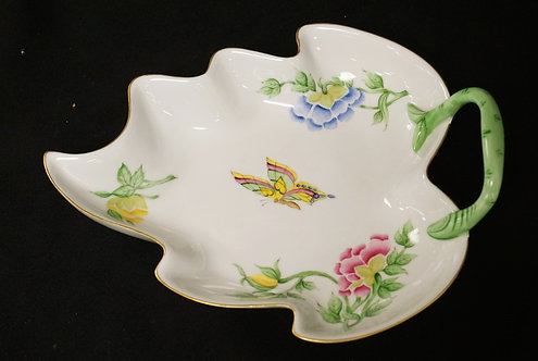 BOGLAR HAND PAINTED PORCELAIN LEAF SHAPED DISH DECORATED WITH FLOWERS AND A BUTT