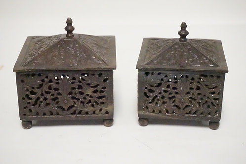 LOT OF 2 ASIAN BRONZE BOXES WITH LIDS. OPENWORK SIDES. LARGEST IS 5 1/2 INCHES S