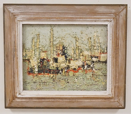 CLARA SNYDER *TOWERS OF INDUSTRY* IMPRESSIONIST OIL PAINTING ON CANVAS. SIGNED L