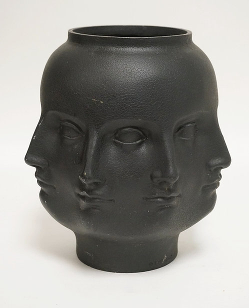 MULTI-FACED CERAMIC VASE AFTER JONATHAN ADLER. MARKED *TMS 2005*. 9 1/2 INCHES H