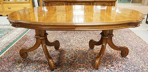THOMASVILLE DINING TABLE WITH A PARQUETRY TOP. 70 X 46 INCH TOP PLUS TWO 20 INCH