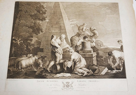 JOHN BOYDELL ENGRAVING AFTER A PAINTING BY BOURDON TITLED *JACOB BURYING LABANS