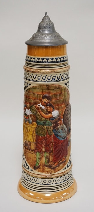 1042_VERY LARGE GERMAN STEIN MEASURING 19 1/2 INCHES HIGH. INCISED WITH THE NUMB