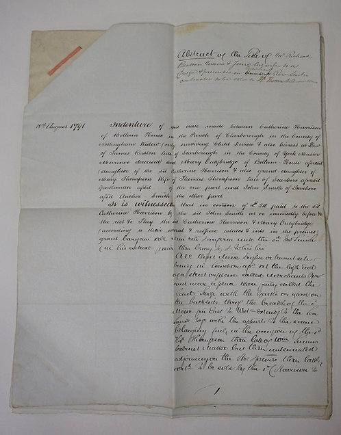 1862 ABSTRACT OF A 1791 INDENTURE FOR RICHARD BEALSON. 16 1/2 X 13 1/8 INCHES.