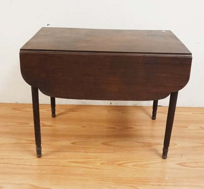 1022_ANTIQUE MAHOGANY BUTTERFLY DROPLEAF TABLE WITH FLUTED LEGS AND FAUX DRAWERS