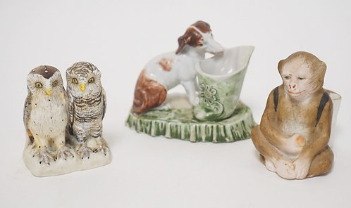 GROUP OF 3 VICTORIAN MATCH HOLDERS- OWLS, DOG AND MONKEY
