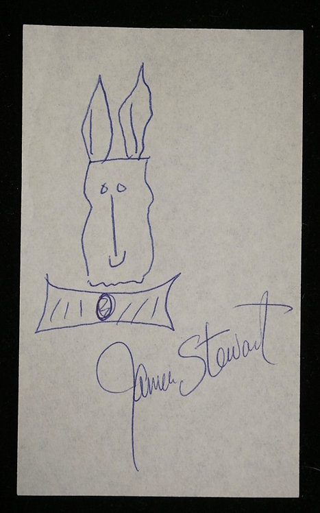 JAMES STEWART CUT SIGNATURE WITH HARVEY THE RABBIT DOODLE.