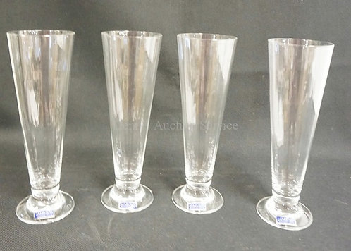 SET OF 4 WATERFORD MARQUIS PILSNER GLASSES WITH ORIGINAL LABELS. 9 5/8 IN H