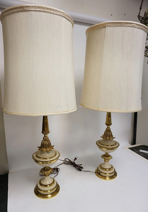 PAIR OF TALL BRASS STIFFEL LAMPS WITH BEIGE DECORATION AND ORIGINAL DIFFUSERS AN