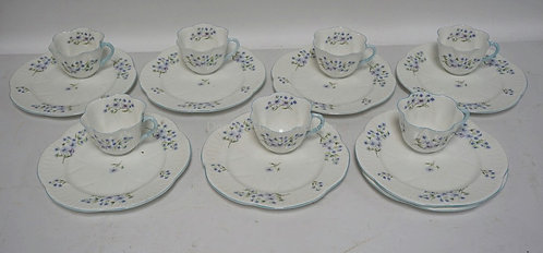 7 SHELLEY *BLUE ROCK* LUNCHEON SETS PLUS AN EXTRA PLATE.