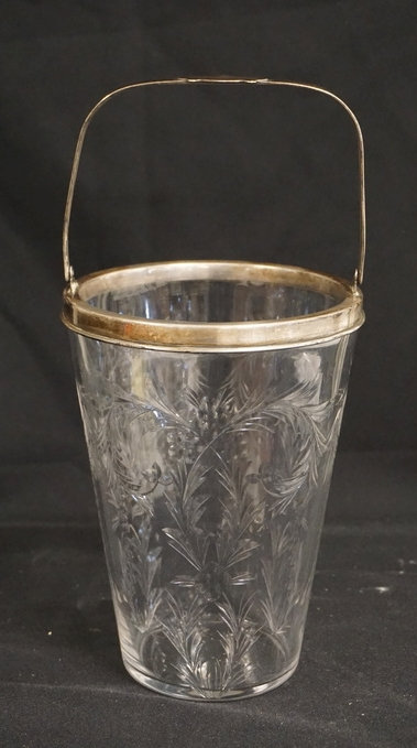 HAWKES CUT GLASS ICE BUCKET WITH A STERLING SILVER RIM & HANDLE (MARKED HAWKES).