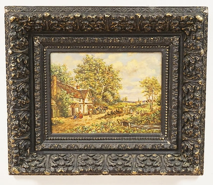 ERNA SCHARFF (1895-1982, NEW YORK) OIL PAINTING ON CANVAS OF A COUNTRY LANDSCAPE