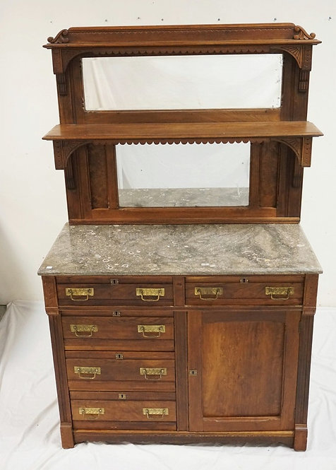 VICTORIAN MARBLE TOP CABINET WITH A DOUBLE MIRRORED AND SHELVED BACKSPLASH. 68 1