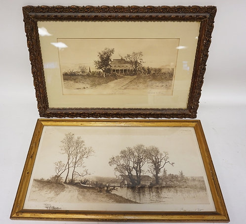 GROUP OF 2 PENCIL SIGNED E.C. ROST PRINTS. LAREST IS 19 3/4 X 9 3/4 INCHES.