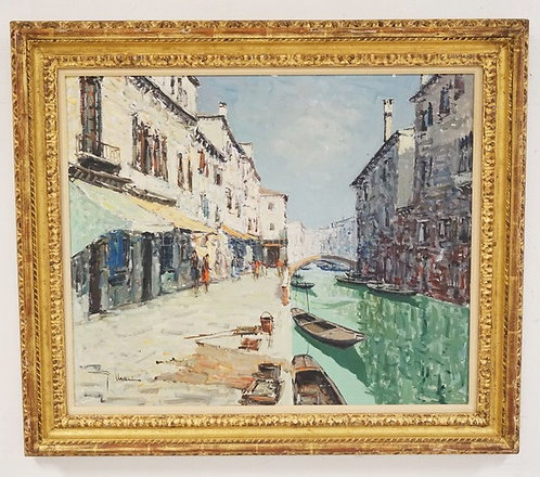 OIL PAINTING ON CANVAS OF A VENETIAN STREET SCENE. SIGNED LOWER LEFT. 20 X 24 IN