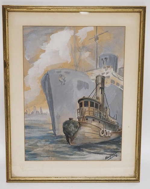 WATERCOLOR SIGNED *MACPHAIL* OF A LARGE SHIP AND A TUGBOAT WITH A CITY IN THE BA