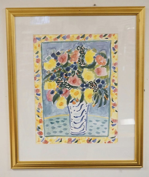 COLORFUL PRINT OF FLOWERS INA VASE. PROFESSIONALLY FRAMED. 29 X 35 INCH FRAME.