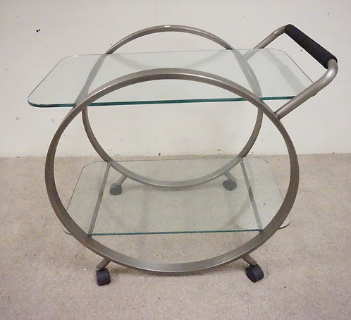 MODERN TEA CART WITH GLASS SHELVES. 30 1/4 INCHES HIGH. 33 INCHES LONG.