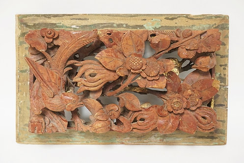 ASIAN CARVED WOOD PANEL IN DEEP RELIEF. DECORATED WITH BIRDS AND FLOWERS. 11 1/2