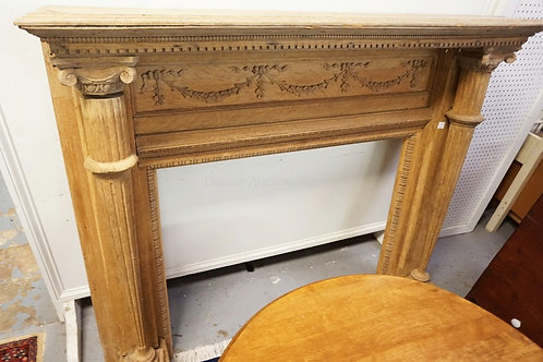 ANTIQUE CARVED OAK MANTEL MEASURING 60 INCHES WIDE.54 1/2 INCHES HIGH.