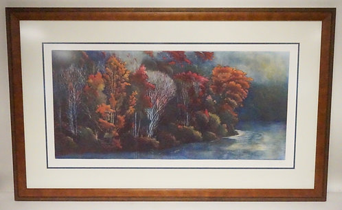 PENCIL SIGNED PRINT OF A WOODEN SHORELINE. EDITION #44/175. 43 X 26 1/4 INCH FRA