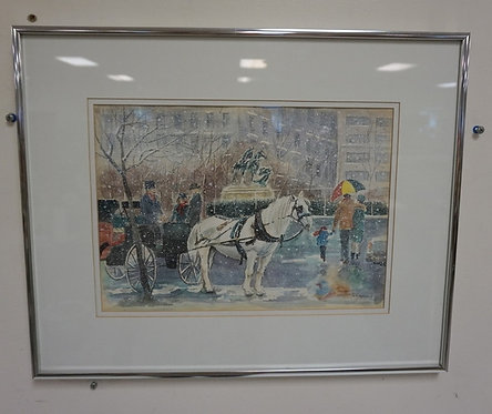 WINTER CITY SCENE WATERCOLOR WITH HORSE DRAWN CARRIAGE, ARTIST SIGNED, FRAMED. 1
