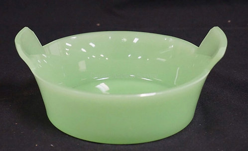 FRENCH OPAQUE GREEN GLASS BUTTER TUB WITH CUT HANDLES AND A CUT AND POLISHED BAS
