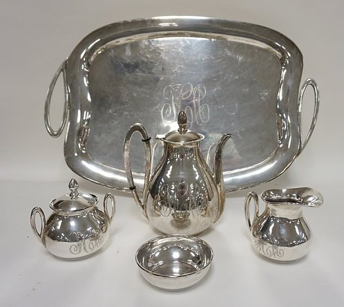 5 PC STERLING SILVER TEA SET BY C. ZURITA, MEXICO. TRAY IS 23 1/2 IN ACROSS THE