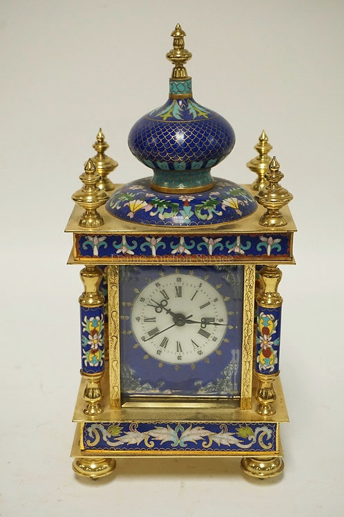 ORNATE CONTEMPORARY CLOISONNE CLOCK. 12 INCHES HIGH. 5 3/4 INCHES WIDE.