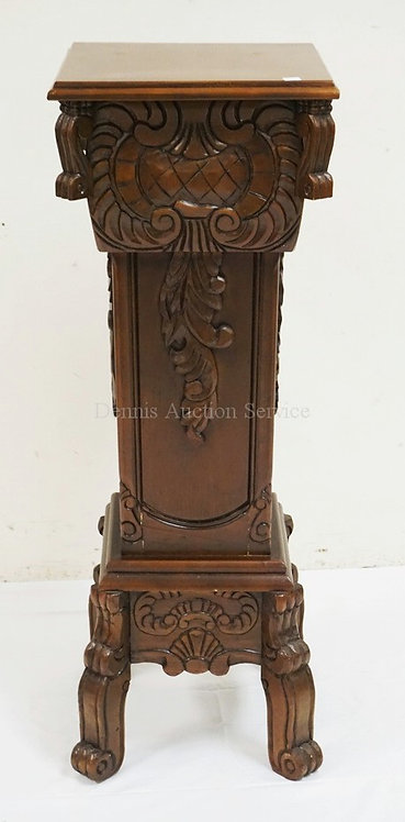 CARVED PEDESTAL MEASURING 37 1/2 INCHES HIGH. 13 1/3 INCHES SQUARE.